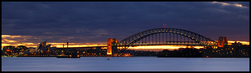 Sydney Harbor Bridge and Opera House from Bradley's Head, Sydney, New South Wales, Australia