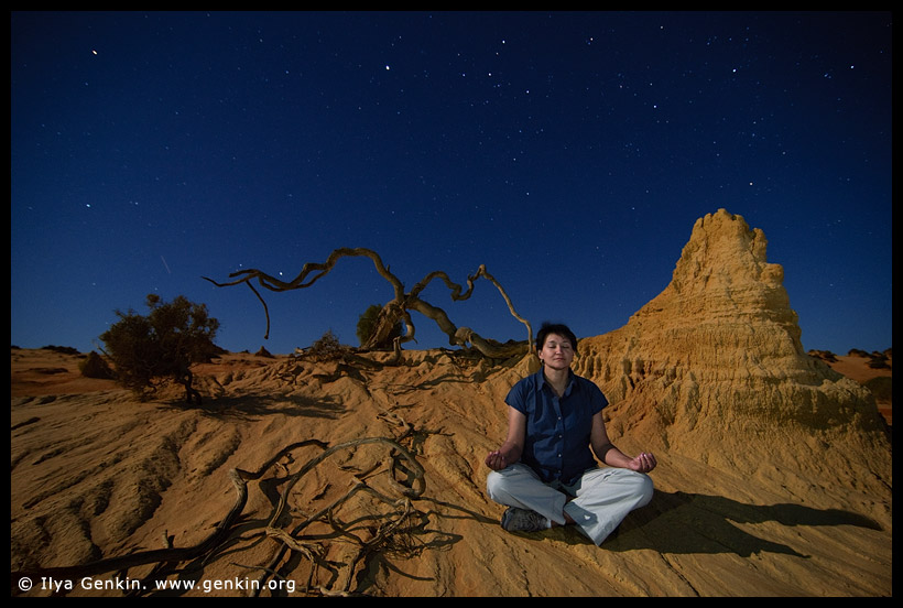 Meditation Under Stars, Mungo National Park, NSW, Australia