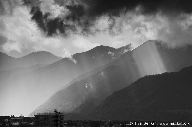 landscapes stock photography | Storm Clearing Over Mountains Near Matsumoto, Japan